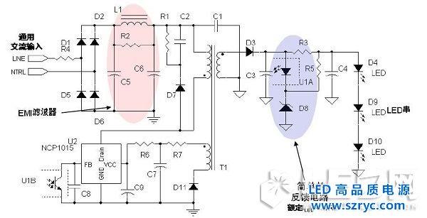在图中,电容C1的作用是降压和限流;VD1~VD4的作用是整流,用于将交流电整VD1~VD4可选择1N4007系列的整流二极管。C2、C3的作用为滤 波,用于将整流后的脉动直流电压滤波成平稳的直流电压。C2、C3的耐压应根据负载电压而定,一般为负载电压1.2倍,其电容容量视负载电流的大小而定。压敏电阻Rv(或瞬变电压抑制二极管)的作用是将输入电源中瞬间的脉冲高压对地泄放掉,从而保护LED不被瞬间高压击穿。   LED串联的数量视其正向导通电压(VF)而定,在220V交流电路中最多可以达到80个左右。电